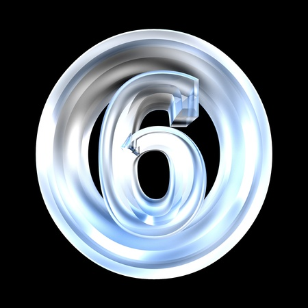 number 6: 3d made - number 6 in glass -