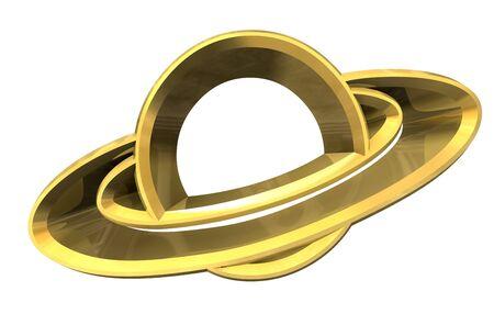 saturn: Saturn platet symbol in gold - 3d made -