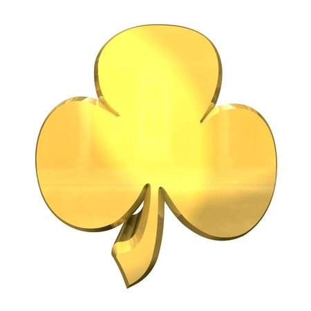 3D made - shamrock in gold -  Stock Photo - 10038888