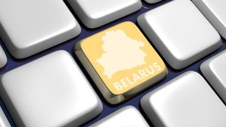 Keyboard (detail) with Belarus map key - 3d made  Stock Photo - 10170833