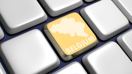 recollection: Keyboard (detail) with Belgium map key - 3d made