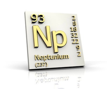 Neptunium form Periodic Table of Elements - 3d made photo