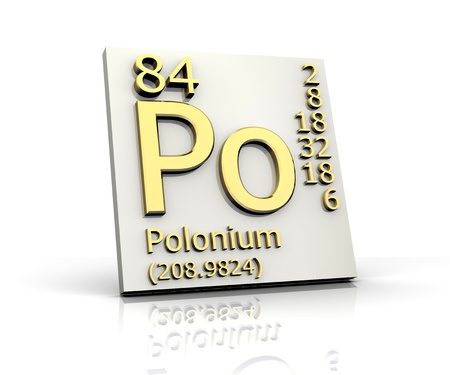 Polonium form Periodic Table of Elements - 3d made photo
