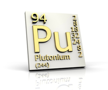 Plutonium form Periodic Table of Elements - 3d made Stock Photo