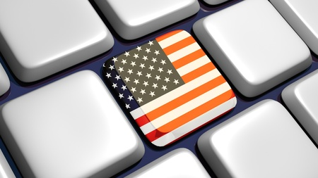 Keyboard (detail) with USA flag key - 3d made Stock Photo - 10170836
