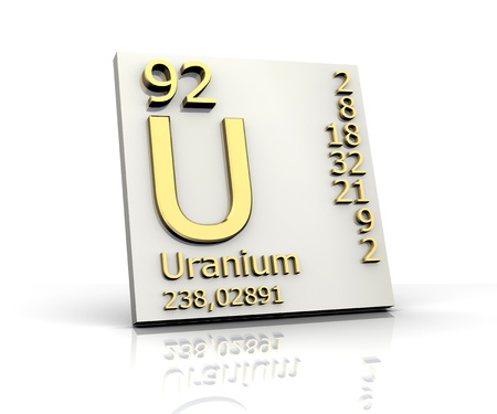 Uranium form Periodic Table of Elements - 3d made photo