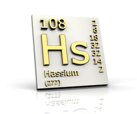 Hassium Periodic Table of Elements - 3d made photo