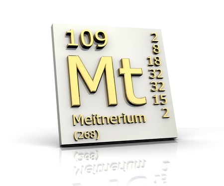 experimentation: Meitnerium Periodic Table of Elements - 3d made Stock Photo