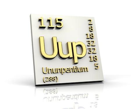 density: Ununpentium Periodic Table of Elements - 3d made Stock Photo