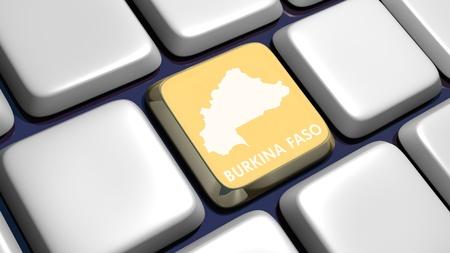 burkina faso: Keyboard (detail) with Burkina Faso key - 3d made