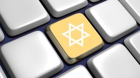 jewish star: Keyboard (detail) with david star key - 3d made