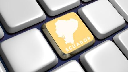 Keyboard (detail) with Ecuador key - 3d made  Stock Photo