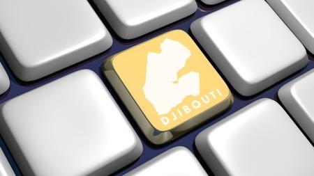 Keyboard (detail) with Djibouti key - 3d made  photo