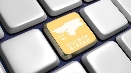 recollection: Keyboard (detail) with Guinea Bissau key - 3d made  Stock Photo