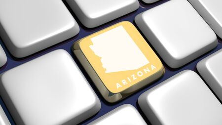 recollection: Keyboard (detail) with Arizona map key - 3d made