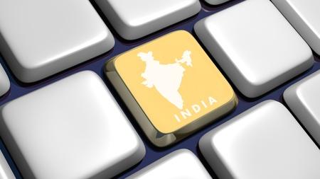 Keyboard (Ausschnitt) mit Indien-Karte Schlüssel - 3d gemacht
