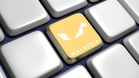 Keyboard (detail) with Malaysia map key - 3d made