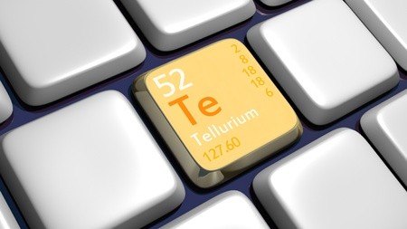 experimentation: Keyboard (detail) with Tellerium element - 3d made  Stock Photo
