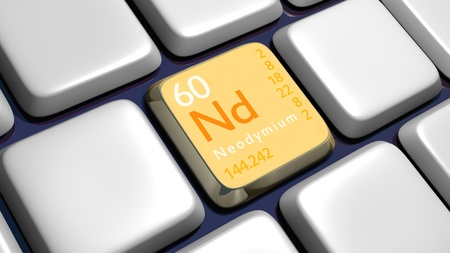 experimentation: Keyboard (detail) with Neodymium element - 3d made