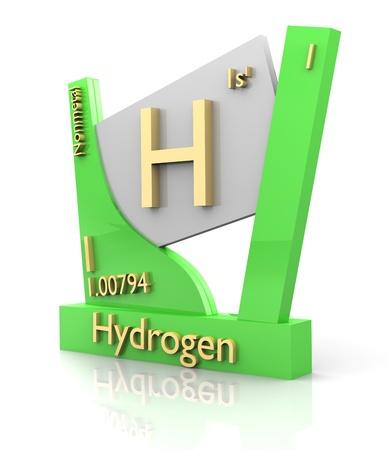 wasserstoff: Hydrogen Form Periodensystem der Elemente - 3d gemacht Lizenzfreie Bilder