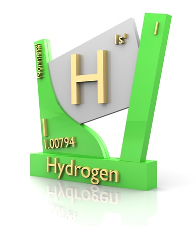 hydrogen: Hydrogen form Periodic Table of Elements - 3d made Stock Photo