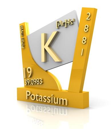 Kalium vorm Periodiek Systeem der Elementen - 3d gemaakt Stockfoto