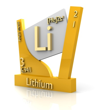 chemistry formula: Lithium form Periodic Table of Elements - 3d made Stock Photo