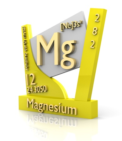 Magnesium: Magnesium form Periodic Table of Elements - 3d made Stock Photo