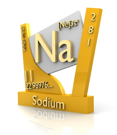 Sodium form Periodic Table of Elements - 3d made Stock Photo