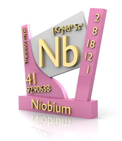 Niobium form Periodic Table of Elements - 3d made Stock Photo - 11297475