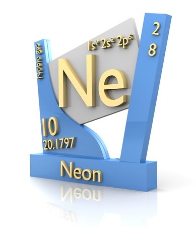 Neon form Periodic Table of Elements - 3d made photo
