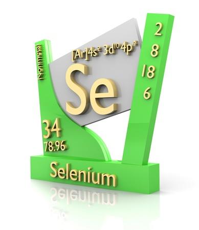 selenium: Selenium form Periodic Table of Elements - 3d made Stock Photo