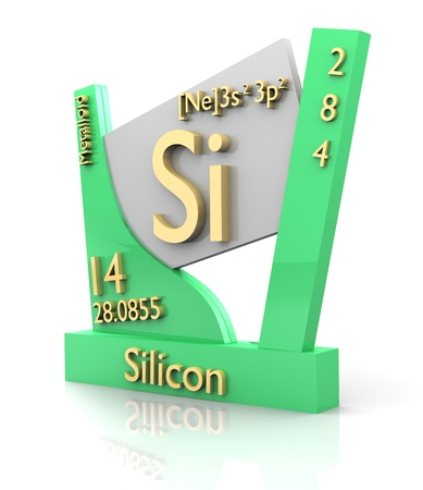 Silicon form Periodic Table of Elements - 3d made photo