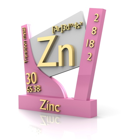 zinc: Zinc form Periodic Table of Elements - 3d made Stock Photo
