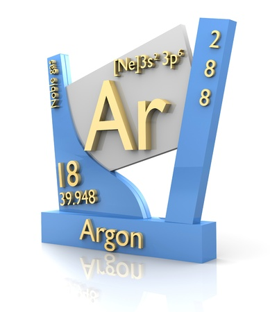 argon: Argon form Periodic Table of Elements - 3d made Stock Photo