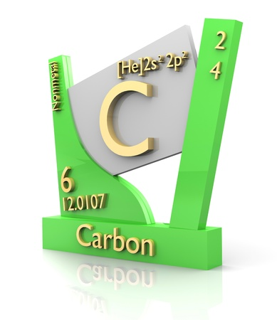 mendeleev: Carbon form Periodic Table of Elements - 3d made Stock Photo