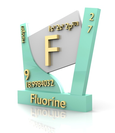 Fluorine form Periodic Table of Elements - 3d made photo