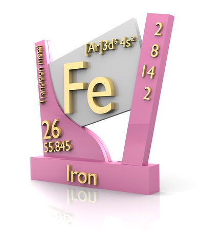fe: Iron form Periodic Table of Elements - 3d made