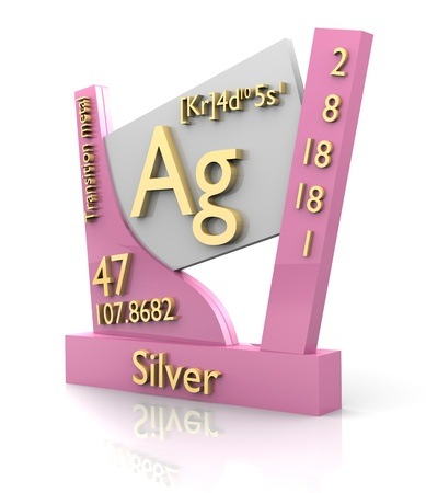 ag: Silver form Periodic Table of Elements - 3d made