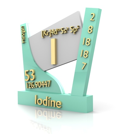iodine: Iodine form Periodic Table of Elements - 3d made Stock Photo