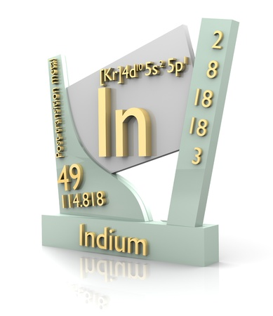 Indium form Periodic Table of Elements - 3d made photo