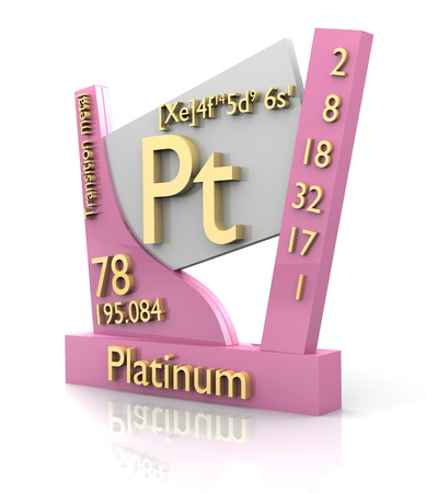 Platinum form Periodic Table of Elements - 3d made photo