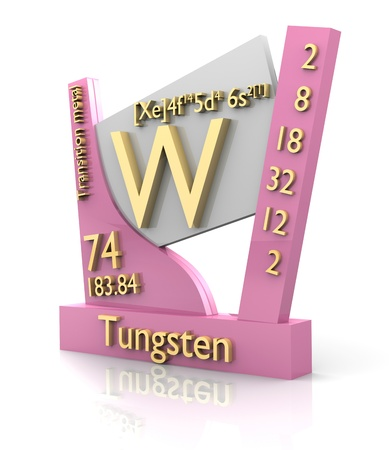 Tungsten form Periodic Table of Elements - 3d made photo