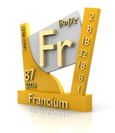Francium form Periodic Table of Elements - 3d made photo