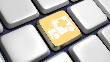 gold rush: Keyboard (detail) with ambulance key - 3d made