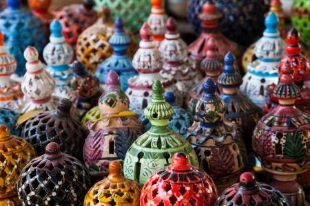 Tunisian Lamps at the Market in Djerba Tunisia detail