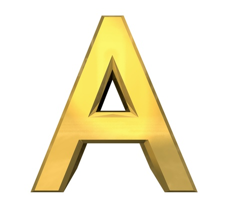 separated: gold 3d letter A - 3d made Stock Photo