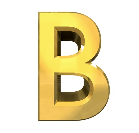gold 3d letter B - 3d made photo