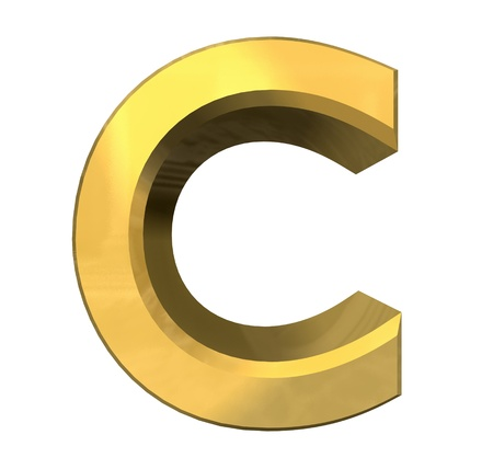 metal letter: gold 3d letter C - 3d made