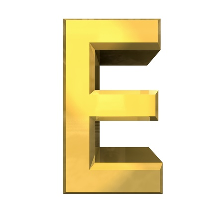 gold 3d letter E - 3d made Stock Photo